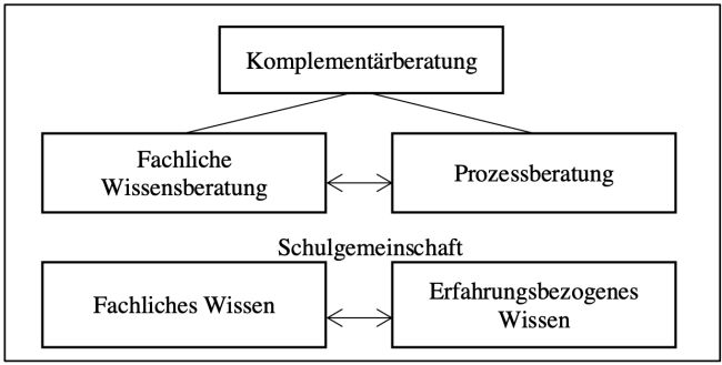 Abbildung 2 bildet das Zusammenspiel der Wissens- und Prozessberatung ab und fasst dies unter dem Begriff der Komplementärberatung zusammen.