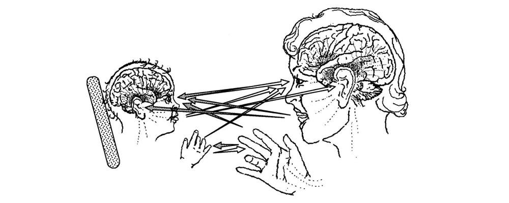 Zu sehen ist ein Kind im direkten Blickkontakt mit einem Erwachsenen. Pfeile verbinden Reizgeber für Intersubjektivität beziehungsweise Schwingungskomponenten für Resonanz. Sie führen vom Mund zu Ohr und Auge, Auge zu Auge, Hand zu Hand und Auge.